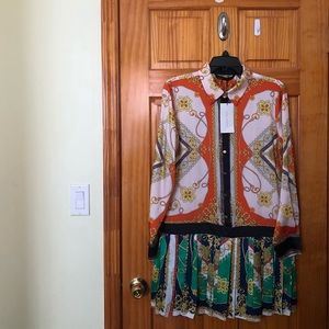 Zara patch work chain print dress XL